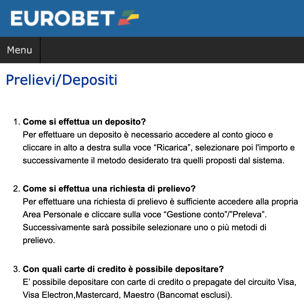 Eurobet deposito